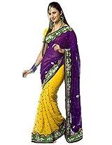 Janasya Chiffon Saree With Blouse Piece (Jne0809 _Voilet)