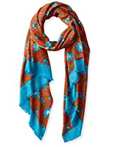 La Fiorentina Women's Floral Scarf with Border, Teal/Red, One Size