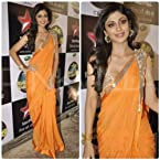 Shilpa Shetty Georgette Orange Embroidered Bollywood Style Saree