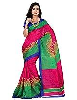 Silk Bazar Women's Tassar Silk Saree with Blouse Piece (Pink & Green)