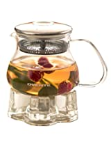 Ovente FGB27T 27oz Heat Tempered Glass Teapot with Mesh Filter and Glass Teapot Warmer