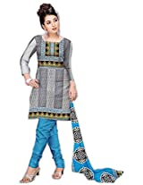 Varshia Womens Synthetic Salwar Unstitched Dress Material (Vp22 _White & Grey)