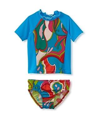 Bathing Beauty by Mack & Co Girl's Bright Swirl Rashguard Swim Set (Blue)