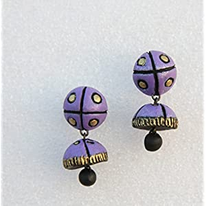 Petals of Earth Terracotta Violet and gold studded jhumka (small)