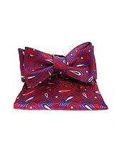 FBT-VS-562 - Red - Blue - Ultra Modern Self Tie Bow Tie Hanky