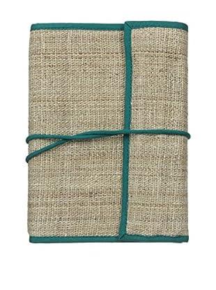 Marina Vaptzarov Hand-Woven Nettle Fabric Notepad & Set of 12 Color Pencils, Teal