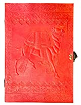 Handcrafted Brick Red Camel Embossed Leather Big Journal/Notebook with C-Lock