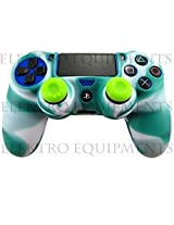 Sony PS4 Controller High Quality Protective Silicone Case Green White with 2 Green Silicone Thumb Grips