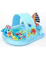 Water Spraying Kiddie Shark Pool & Ring Toss Game - Attach Garden Hose and Spray Water from Cool Summer Shark - Splash in the Sun Pool Play Center - Kids Outdoor Yard Fun Swimming Pool Party Toy - Intex Stong Durable Inflatable PVC
