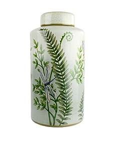 HomArt Morning Fern Hand-Painted Porcelain Large Urn with Lid (Multi)