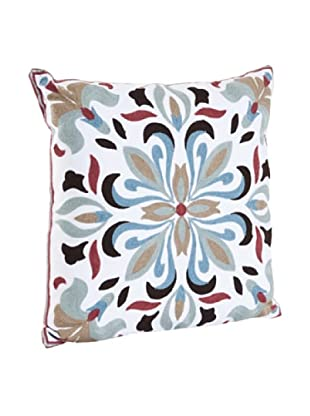 Saro Lifestyle Aqua Crewel Work Pillow