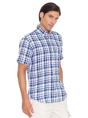 Pedro Del Hierro Camisa Cuadros Lino (Blanco / Azul)