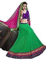 Suchi Womens Net Lehenga Dress Material (Sfran90125 _Green _Free Size)