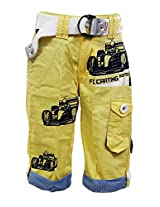 Fingerchips Boys Yellow Colour Go Carting 3/4th Shorts with matching belt (waist 26 )