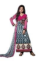 Vibes Women's Gorgette Salwar Suit Dress Material (V165-14003 _Multi-Coloured _Free Size)