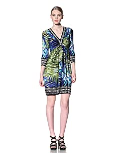 Muse Women's Long Sleeve Palm Leaf V-Neck Dress (Blue/Green)