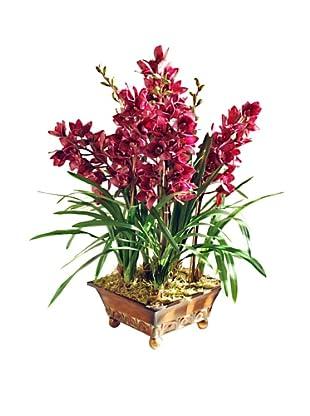 Winward Large Fucshia Faux Orchid in Planter, Fuchsia