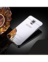 Febelo Branded Luxury Metal Bumper + Acrylic Mirror Back Cover Case For Samsung Galaxy Note 4 - Silver Plated