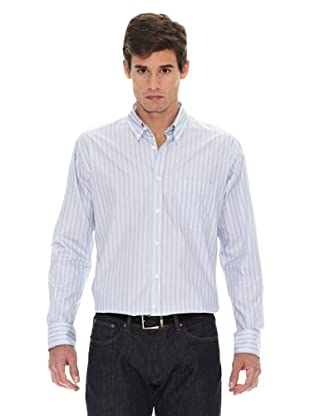 Turrau Camisa Raya Ancha / Fina Bicolor (Gris / Azul)