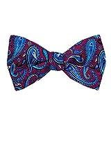FBTT-11116 - Fuschsia - Aqua - Blue - Mens Big and Tall Silk Self Tie Bow Tie