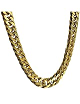 Heavy Stainless Steel Double Cuban Chain 19mm Chunky Miami Curb Gold Plated Big 30 Inch Necklace