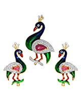 R S Jewels Gold Plated Peacock Designs Multi Color Stone Enamel Pendant Set
