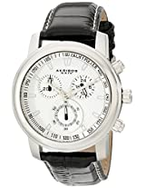 Akribos XXIV Men's Black Leather Analogue Watch - AKR443SS
