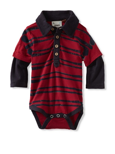Fore!! Axel and Hudson Boy's Long Sleeve Flocked Stacked Clubs Polo Bodysuit (Jester Red)