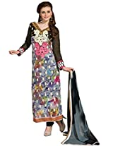 Vibes Womens Georgette Patch Work Straight Unstitched Dress Material (V199-8 _Multi-Coloured)