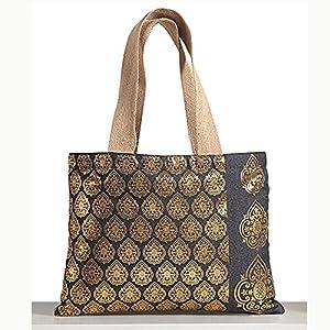 Shopping World Denim Jute Multi Flower Handbag