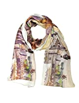 Wrapables Luxurious 100% Charmeuse Silk Long Scarf with Hand Rolled Edges, Downtown