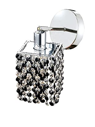 Elegant Lighting Mini Crystal Collection Square Wall Sconce, Jet