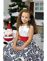 Magic Fairy Girls' Taffeta Dress [MF-292_White w Red Sash_7-8 Years]