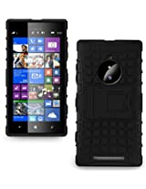 JKase DIABLO Tough Rugged Dual Layer Protection Case Cover with Build in Stand for Nokia Lumia 830 (Black)