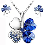 Blue Austrian Crystal Flower Necklace Earrings Jewelry Sets Festival Gift