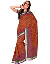 Orbymart Brown Color Raw Silk Saree - 55207666