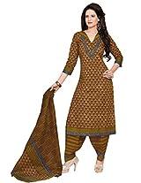 Salwar Studio Olive Green & Brown Cotton Dress Material with Dupatta SHIMAYAA-1223