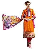 Surat Tex Orange & Pink Color Wear Cotton Jacquard Semi-Stitched salwar kameez designs