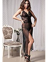 A Beautiful Net Long Evening Gown With G-String.