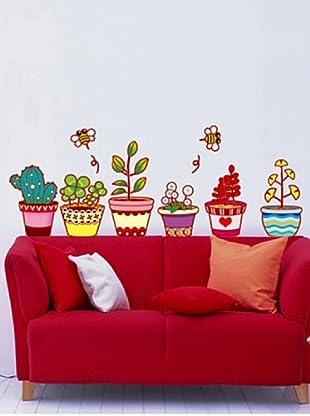 Ambiance Live Adhesivo Macetas De Flores Y Cactus