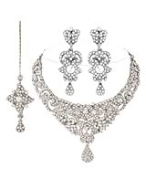 I Jewels Traditional Rodium Plated Stone Necklace Set with Maang Tikka For Women (White)(M4038ZW)
