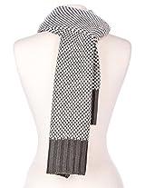 Mens Two-Tone Manhattan Winter Scarf - Dark Grey-White