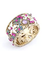 Cinderella Collection by Shining Diva Pink& Golden CZ Ring for Women 7106r