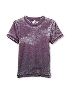 Colorfast Apparel Boy's Dip Dye Burnout Tee (Plum/Dark Plum)