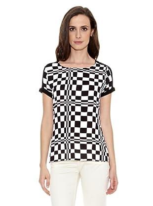 Cortefiel Camiseta Estampada Cuadros (Blanco)