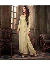 Shree Fashion Woman's Georgette With Dupatta [Shree (78)_Cream]