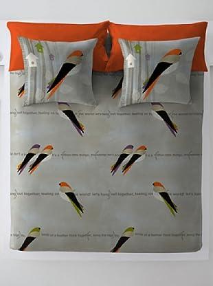 Wild About Words Juego de Funda Nórdica Birds Life (Beige / Naranja)