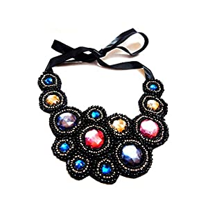 Daamak Jewellery Stone Emblished Bib Statement Necklace - Black