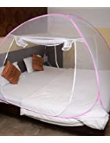 ANS mosquito net double bed twist pattern pink
