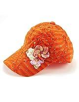 Glitzy Game Flower Sequin Trim Baseball Cap (Orange with Flowers)
